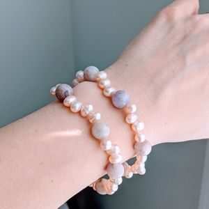 Freshwater Pearls and Lilac Jade Bracelet